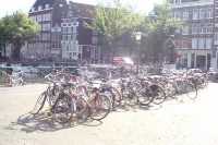 Parked bycicles in Amsterdam