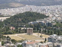 View of the temple of Olympian Zeus from the Acropolis